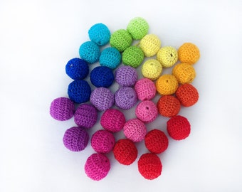 rainbow teething beads Set 33 pcs crochet beads baby teether baby teething necklace chew beads eco teething toy baby teething beads