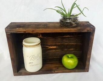 Wood shelf- wood tray- dark walnut stain - farmhouse decor