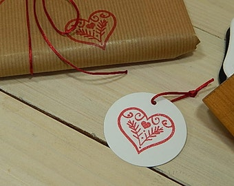 Folklore Heart Olive Wood Stamp