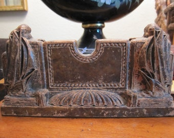 Syroco Wood Antique Art Deco Ship Card Holder