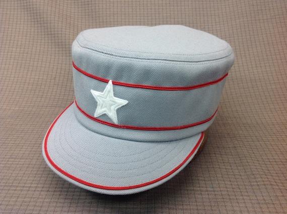 Custom made light grey wool serge box cap trimmed in red soutache, with 1910 visor, haircloth stiffener, white felt star, cotton sweatband.