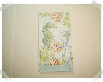 Large Paper Napkins for Decoupage/ Seahorse/Starfish print/Single Or Set of 3 /Craft Supplies**