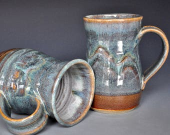 Pair of Large Pottery Mugs Ceramic Beer Stein Handmade Stoneware