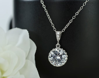 Bridal Necklace - Round Drop CZ Bridal Pendant on Sterling Silver Chain, Bridesmaids Necklace, Bridal Jewelry, Wedding Jewelry , CZ Necklace