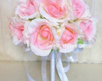 JennysFlowerShop One Dozen/Two Dozen Soft Silk Rose Wedding Bouquet in White Bridal Bridesmaid Flower Girl Toss Bouquet Pink