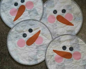 Quilted Snowmen placemats, reversible