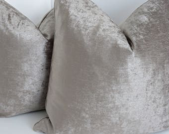 Taupe  Tomiko Velvet Pillows- Taupe Pillows- Taupe Velvet Pillow Covers- Taupe Decorative Pillows- Pillow Covers- Accent Pillows