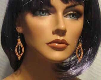 Vintage Handpainted Leather Hook Earrings