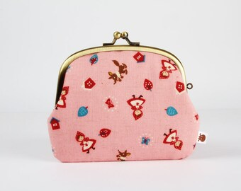 Metal frame purse with two sections - Little red riding hood on pink - Pop up / Kawaii japanese fabric / Fairy tales / teal red brown pink
