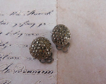 Vintage Marcasite Stud Earrings, Clip On Earrings, Silver Tone Studs, mid century, gifts for her