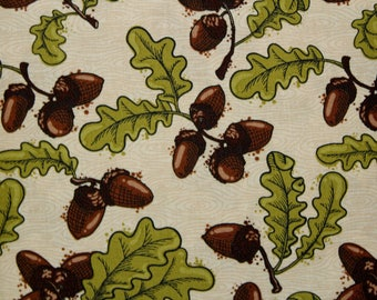 Acorns, Fabric, Oak Leaves, Cotton Fabric, Sold By The Yard, Fabric, Fall Fabric, Quilting Fabric, Sewing Fabric, Patrick Lose Fabric