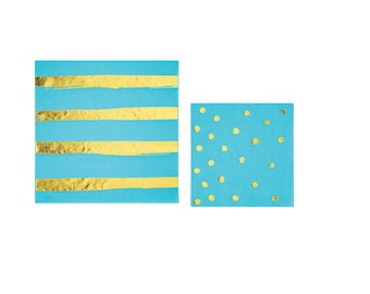 Bermuda Blue and Gold Foil Napkins | Striped Napkins, Party Napkins, Beverage Napkins, Confetti Napkins, Mermaid Party