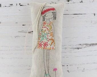 Lavender Sachet, Lavender Bag, Lavender Girl, Embroidered Lavender Sachet, Liberty Lavender Sachet, Linen Lavender Bag, Mothers Day Gift