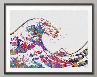 The Great Wave Off Kanagawa Big Wave Watercolor Art Print Wedding Gift Wall Art Poster Houkusai Wall Hanging [NO 337]