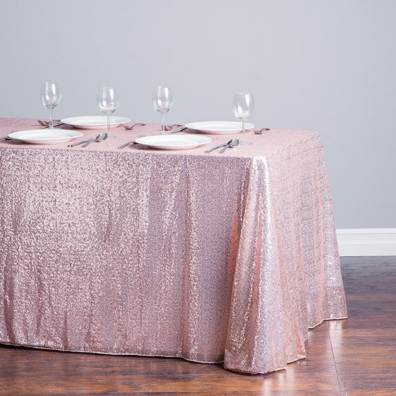 Blush sequin tablecloth baby shower table cloth sequin