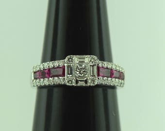18 karat Art deco Ruby and Diamond ring