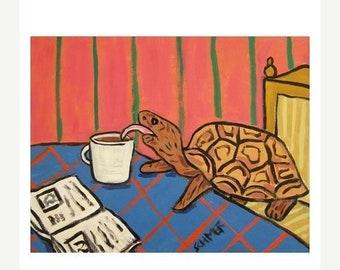25% off Turtle at the Coffee Shop Art Print 11x14 JSCHMETZ moder pop art animal folk art