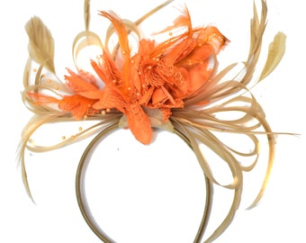 Champagne Gold Beige Camel and Orange Fascinator on Headband Alice Band UK Wedding Ascot Races Derby