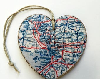 Buffalo Map Heart Ornament - Blue and Red