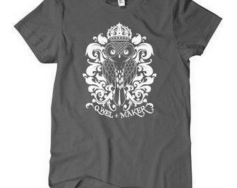 Women's Owl T-shirt - S M L XL 2x - Ladies' Galapagos4 Tee - Qwel and Maker - Chicago Hip Hop - 4 Colors