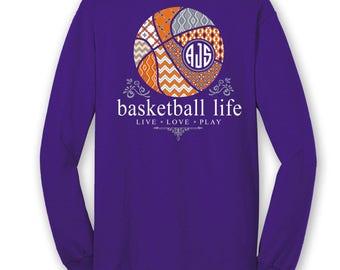 OFFICIAL TM Basketball Life™ Custom Monogram Long Sleeve T-Shirt Basketball Shirt Basketball T