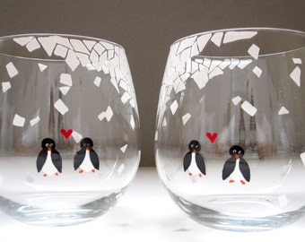Penguins in Mosaic Snow- Set of 2 Wine Glasses