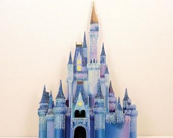 Disney castle - Cinderella's castle at Christmas - Cinderella's castle in blue - handmade scrapbook embellishment