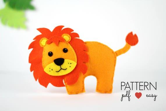 Felt Lion Pattern Lion Sewing Pattern Lion PDF Pattern Plush