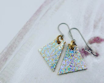Iridescent Silver Triangular Leather Earrings (small)