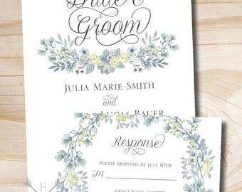 Vintage Floral Wreath Wedding Invitation Response Card Invitation Suite