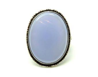 Vintage Art Deco Ring | Gemstone Ring | Art Deco Chalcedony Ring | 1920s Large Gemstone Ring | Blue Chalcedony | Statement Art Deco Ring