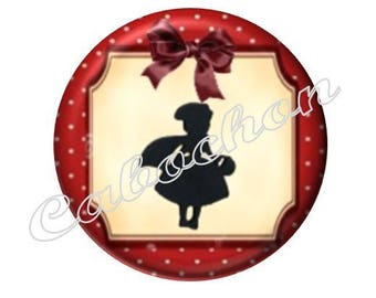 2 cabochons 18mm glass, fairy tale Red Riding Hood