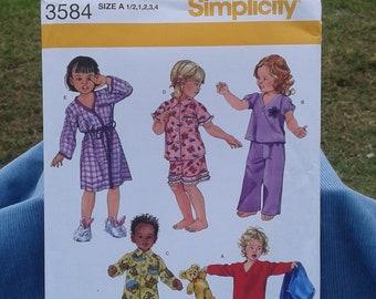 Boys & Girls Pajamas and Robe - Toddler Sleepwear - Simplicity Sewing Pattern 3584- Sizes 1/2 - 4