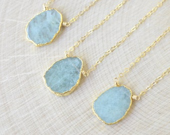 Aquamarine Necklace, March Birthstone, Gold Filled, Aquamarine Slice with Gold Electroplate, Rough Aquamarine, Rustic Boho Gypsy Aqua Blue