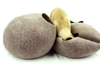 Cat bed, house, cave. Size S (small). Natural felted sheep wool. Color sand brown. Made by kivikis.