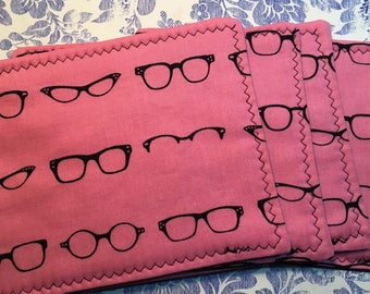 Geeky Chic Eyeglasses on Pink fabric COASTERS Set of 4