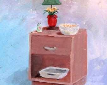 Original Painting * Nightstand Series * Small Art Format By Rodriguez