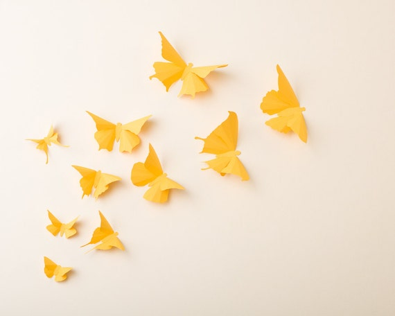 3D Wall Butterflies: Canary Yellow Butterfly Silhouettes for