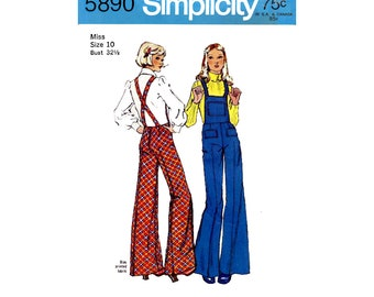 70s Rare Bell Bottom Overalls with Crossover Suspenders, Bust 32.5 Waist 25 Hip 34.5 Simplicity 5890 Vintage Sewing Pattern Reproduction