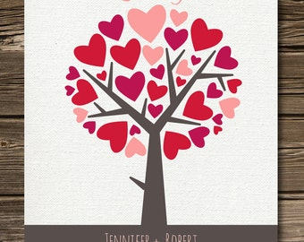 Personalized  Valentines Gift For Her, Poster with Wedding Date and Names in 8x10 size, Hearts and Tree