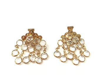Vintage Gold Plated Crystal Bezel Glass Clip Earrings