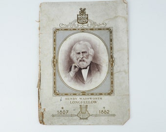 RARE Norddeutscher Lloyd Bremen Antique Cruise Ship Progam- Henry Wadsworth Longfellow- Poetry Recital- Cover Only- 1800's Illustration