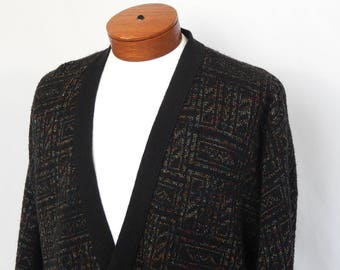 Vintage Men's 80s Totally Tubular Eighties Cardigan Sweater Black with Graphic Rectangles Gold Teal Rust Extra Large XL London Fog