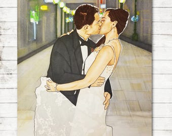 Wedding Illustration | Bride & Groom | Wedding | Anniversary Gift | Wedding Gift | Wedding Dress | Anniversary | Wedding Drawing