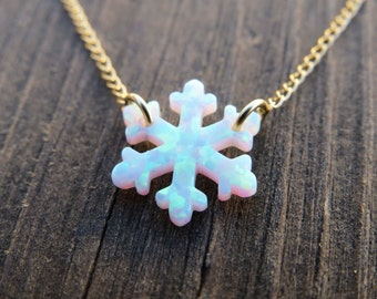 Opal necklace, opal snowflake necklace, white opal necklace, opal gold necklace, opal jewelry, snowflake necklace, Christmas gift