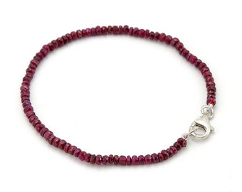 Ruby Bracelet . 4 mm. Natural Red Ruby Bead Bracelet 925 Silver/14K Gold Clasp.