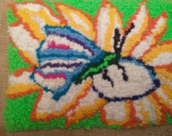 9x7 Butterfly and flower rug hook reduced 25%