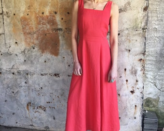 The Simple Life 1970s Red Linen Laura Ashley Maxi Dress