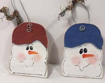 Lot of 2- Snowmen Head Ornament