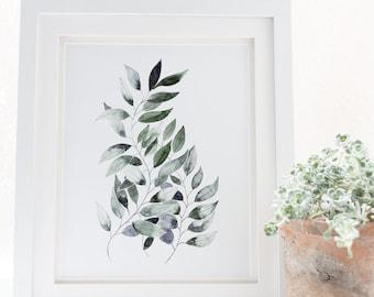 Fern leaf, botanical art, nature print in watercolor, Fern leaves, minimalist art plant print, Leaf wall art, plant print, modern large wall